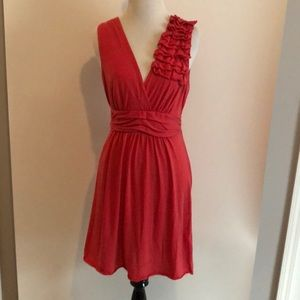 Coral knit tank dress with ruffle detail